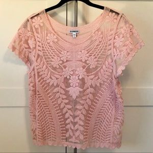 Express Embroidered Mesh Top